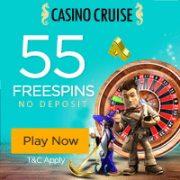 55 Free No Deposit Spins + Deposit Bonuses up to $300 at Casino Cruise